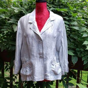 Chico's Linen Blend Silver/Gray Jacket Sz 2 (M-L)